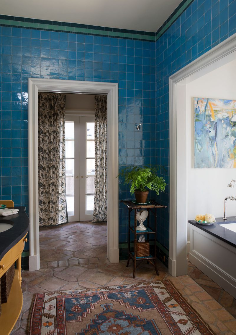 Bathroom with blue tile walls